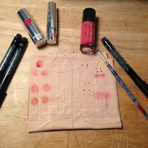 Blush and eyes. I used the lipstick and pen on the right.