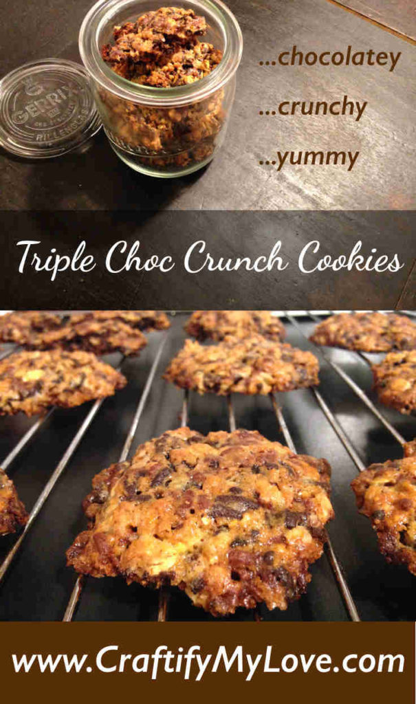 "Recipe for a ""Triple Choc Crunch Cookie""-Mix including free printable gift tag by Habiba from CraftifyMyLove.com"