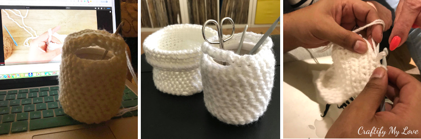 Gloria and her husband crocheting their first baskets ever with the help of the free crocheting for beginners course by Craftify My Love