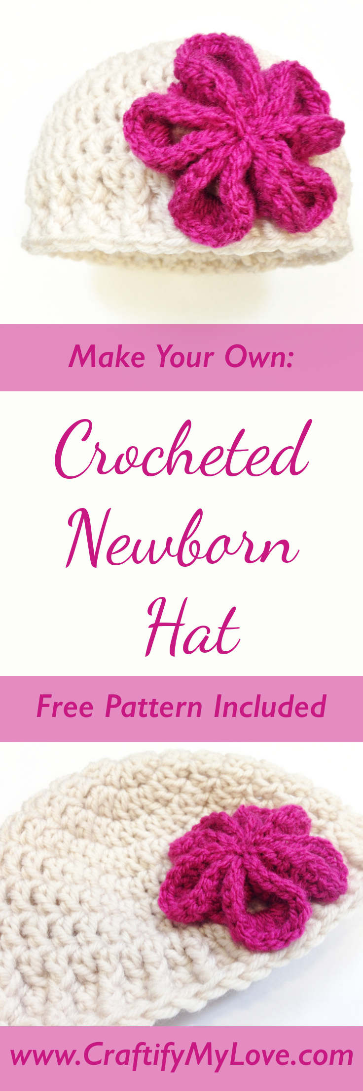 DIY Free Pattern For A Crocheted Newborn Hat With Pink Flower made by Habiba from CraftifyMyLove.com