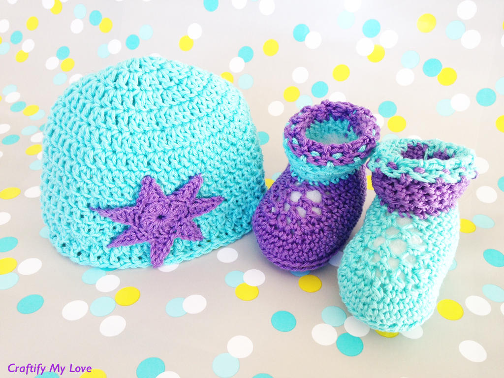 Crocheted Newborn Booties And Matching Hat Free Pattern Craftify