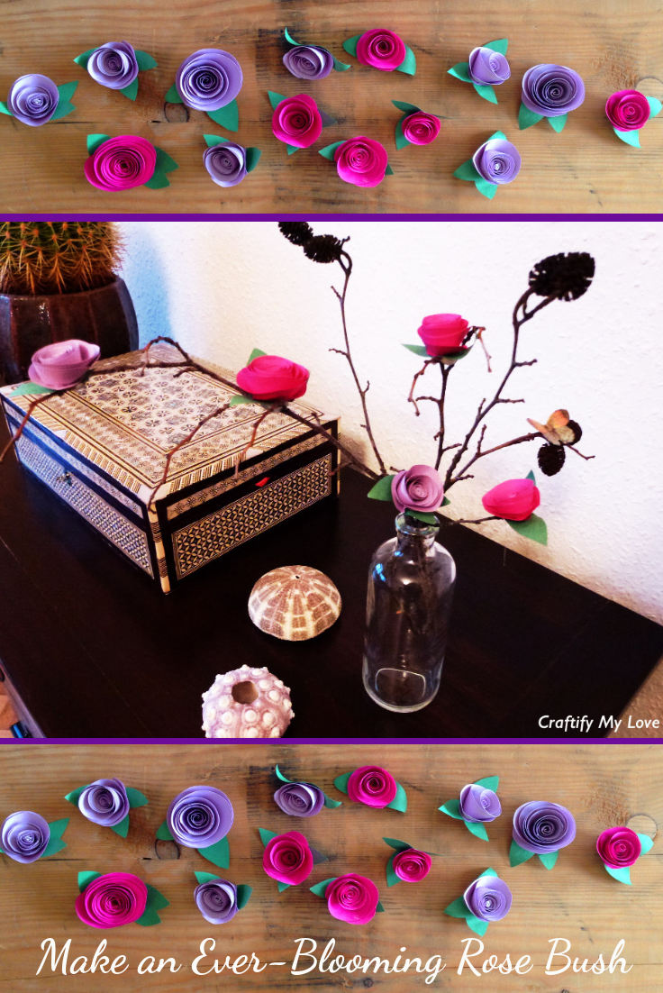 This image shows handmade ever-blooming paper roses and a DIY rose bush.