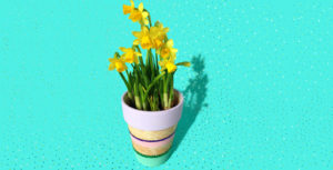 DIY spring and sparkly painted flower pot with glitter and pastel colors made by Habiba from Craftify My Love