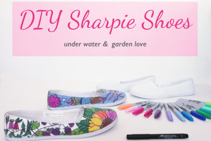this image shows hand painted sharpie shoes with a garden and under water theme