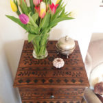This image shows the finished IKEA Hack TARVA oriental inspired.