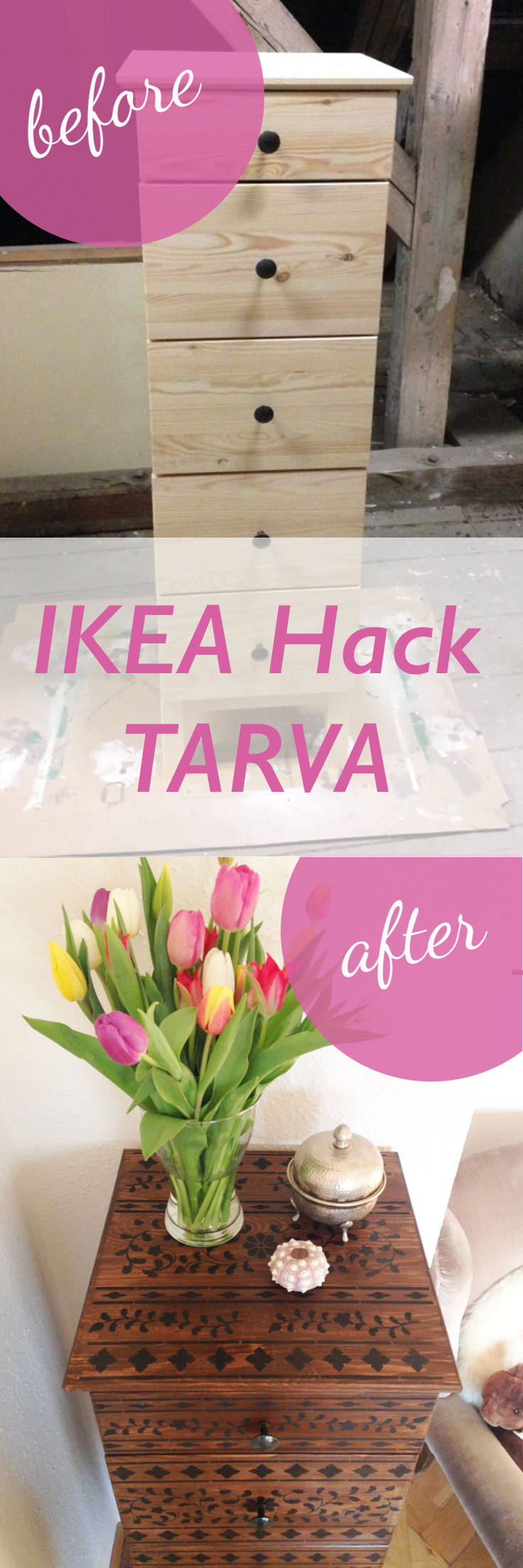 This image shows the IKEA Hack TARVA before and after image