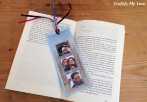 Vacation Memory Bookmark made from paper, photos and ribbon