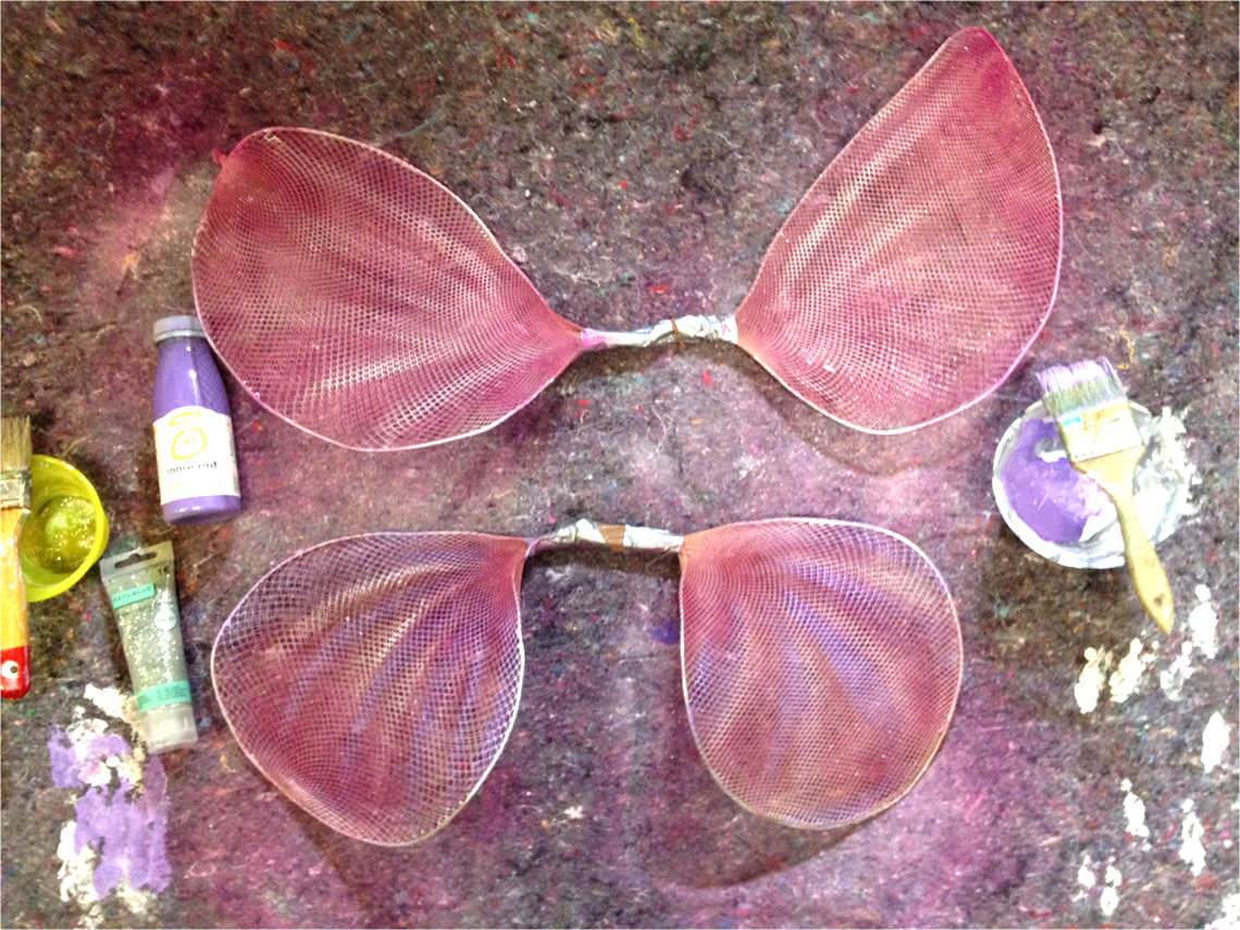 spray painting and painting handmade butterfly and fairy wings with acrylic paint