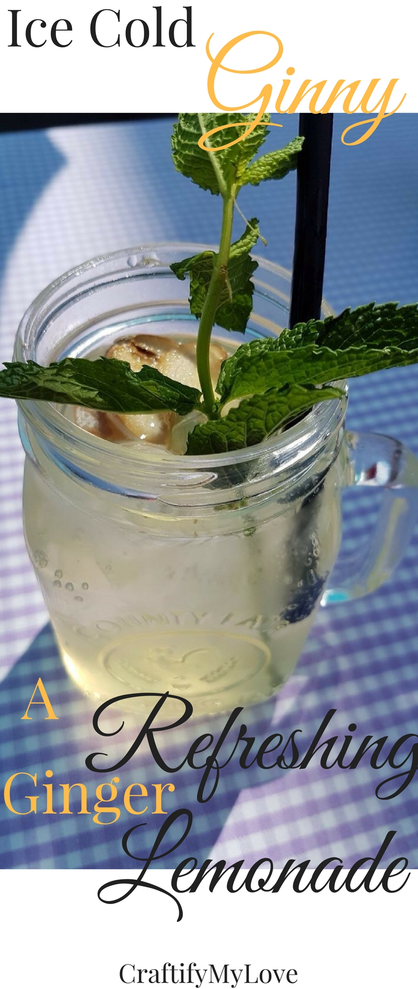 Refreshing summer drink, ice cold ginger lemonade made from ginger sirup