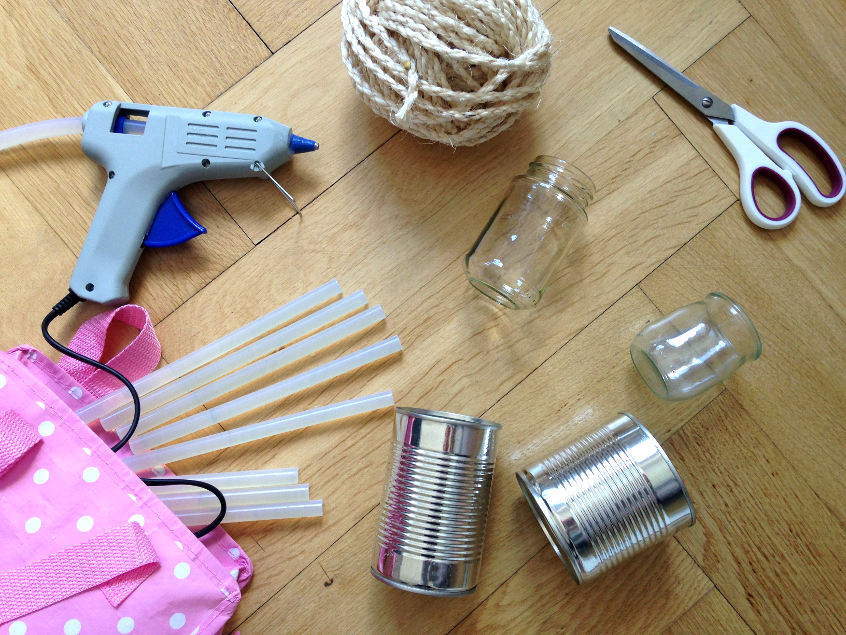Supplies for a diy up cycled vase made from rope and a tin can
