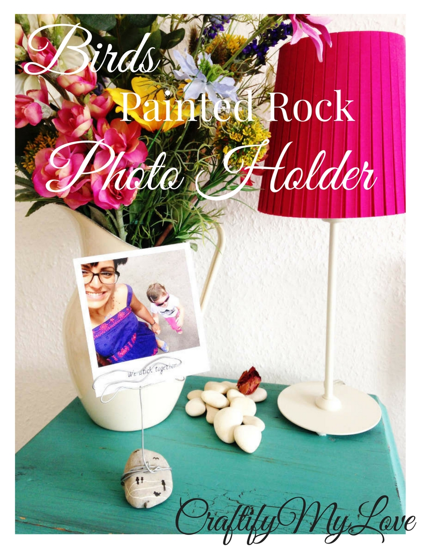 Click for a free tutorial on how to make a birds painted rock photo holder. 10-Minute-Crafts!