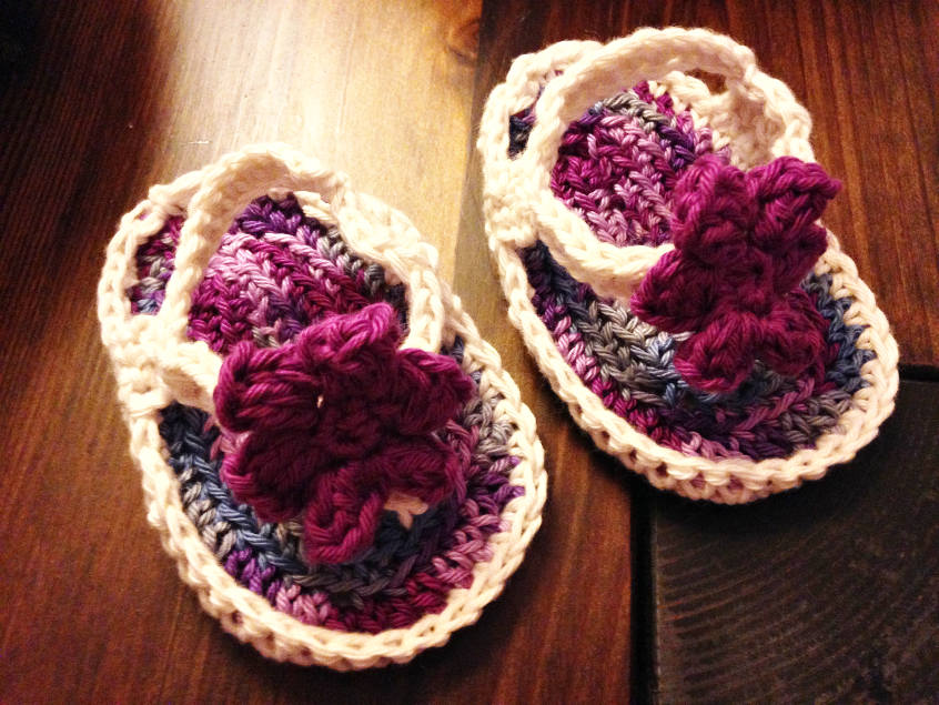 learn how to crochet cute violet newborn flip flops for baby girls
