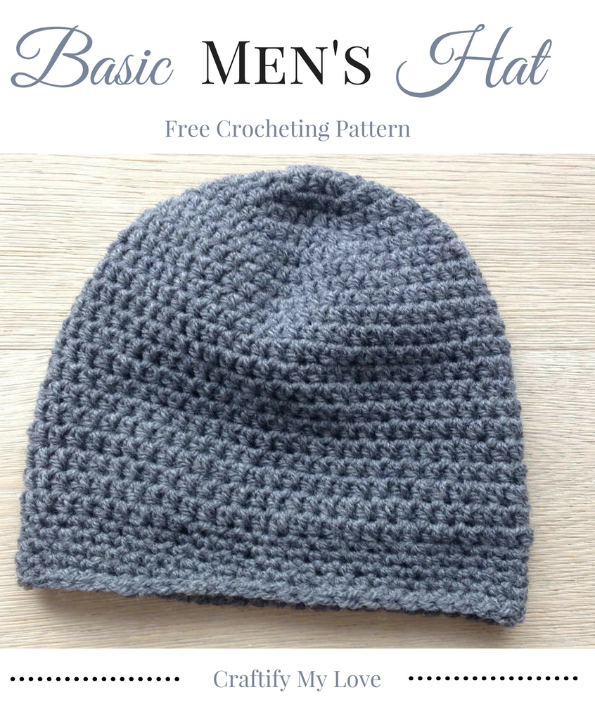 Enjoy this free and easy crocheting pattern for a Basic Men's Hat