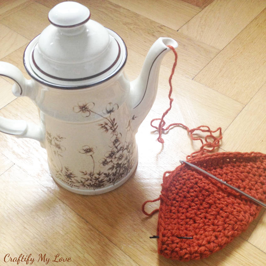 Crocheting or knitting hack! Store ball of yarn in a tea pot and it won't roll around in your living room. Use a bobby pin as a stitch marker.