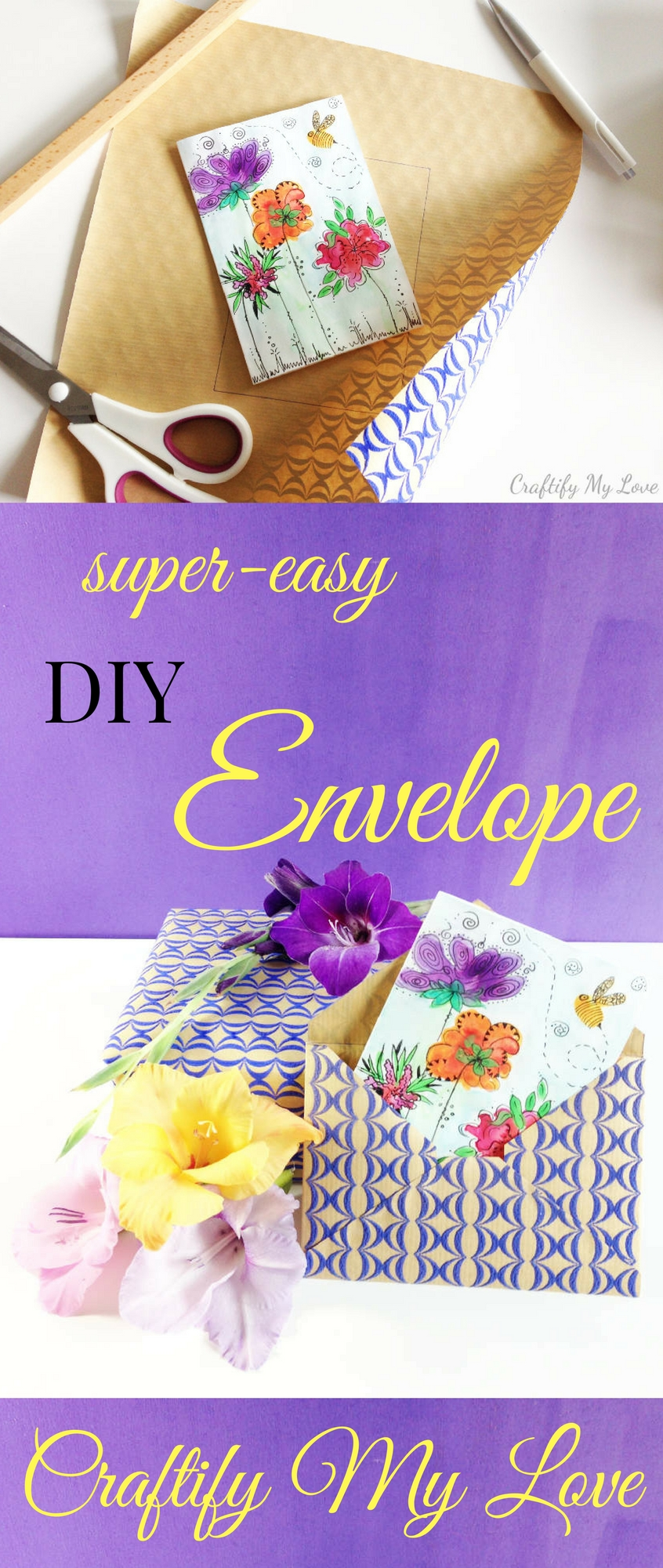 Learn how to make an envelope all by yourself using gift wrapping paper. Click for easy tutorial.