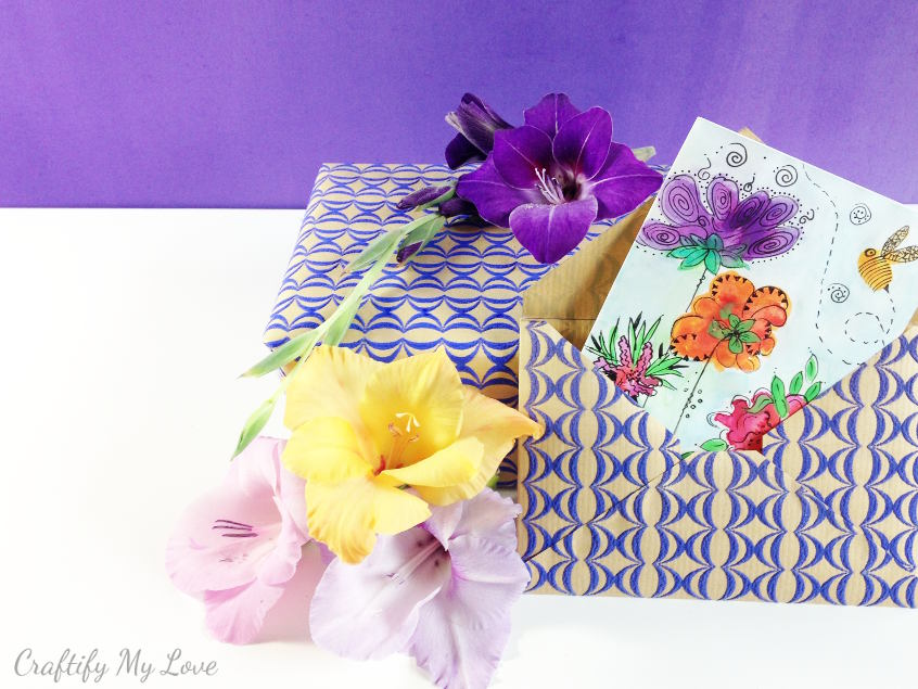 DIY handmade envelope and water color greeting card