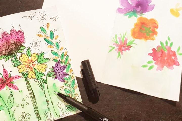 diy watercolor cards sporting flowers