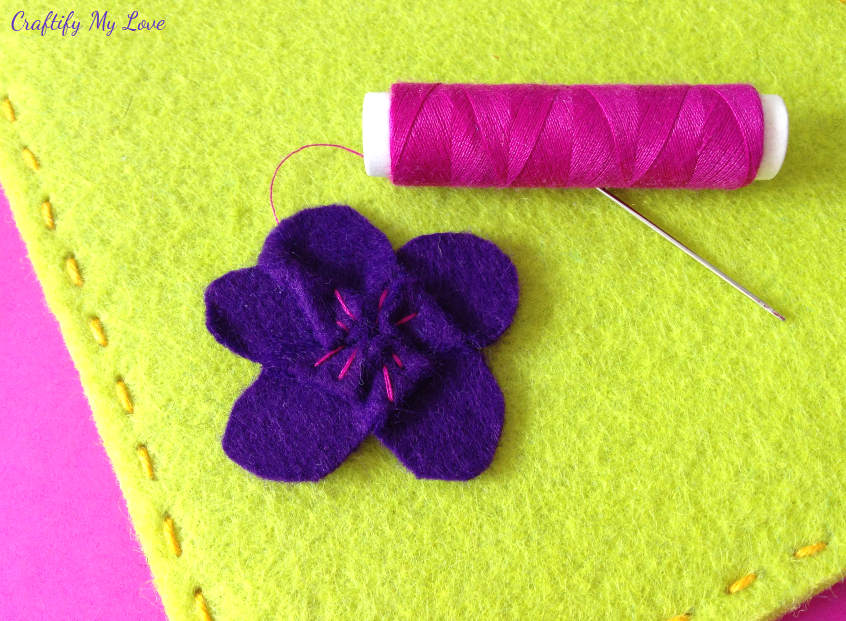 hand stitching details on felt flowers diy tablet sleeve