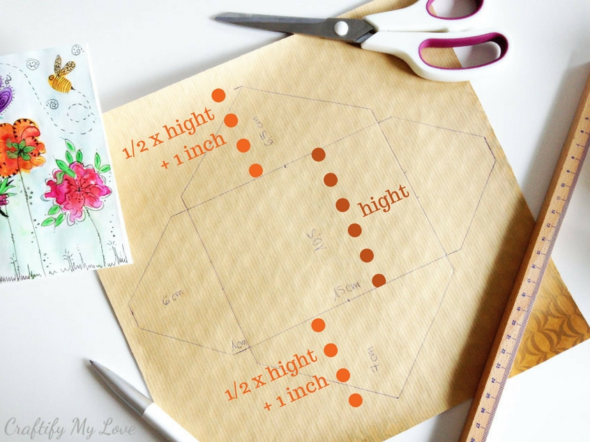 measuring the hight of top and bottom flap of diy envelope