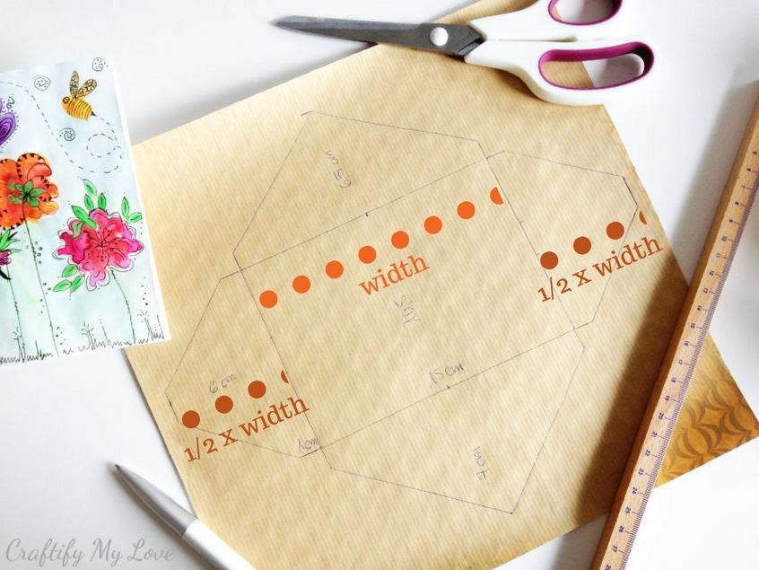 measuring the width of side flaps to make diy envelope