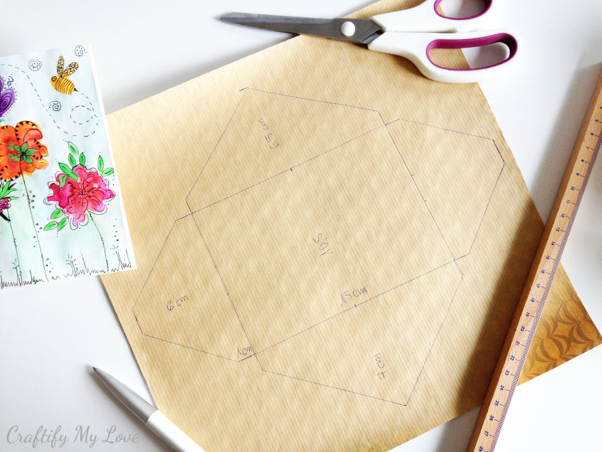template for a die envelope for handmade cards and card making