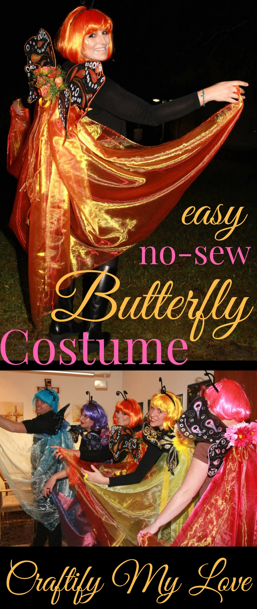 Gorgeous Halloween family group costume! Click for an easy DIY to get your own butterfly swarm!