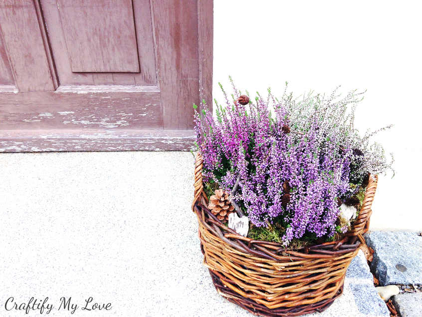 DIY fall decor project heather basket that will transition into winter