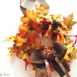 DIY fall leaves wreath with burlap bow