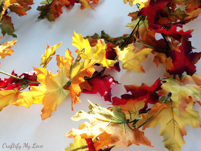 Fall leaves garland for a fall leaves wreath making