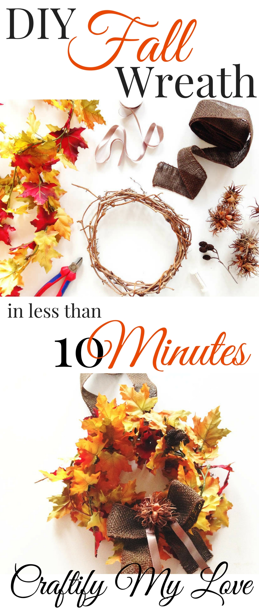 Make this fall leaves wreath with 4 supplies in less than 10 minutes