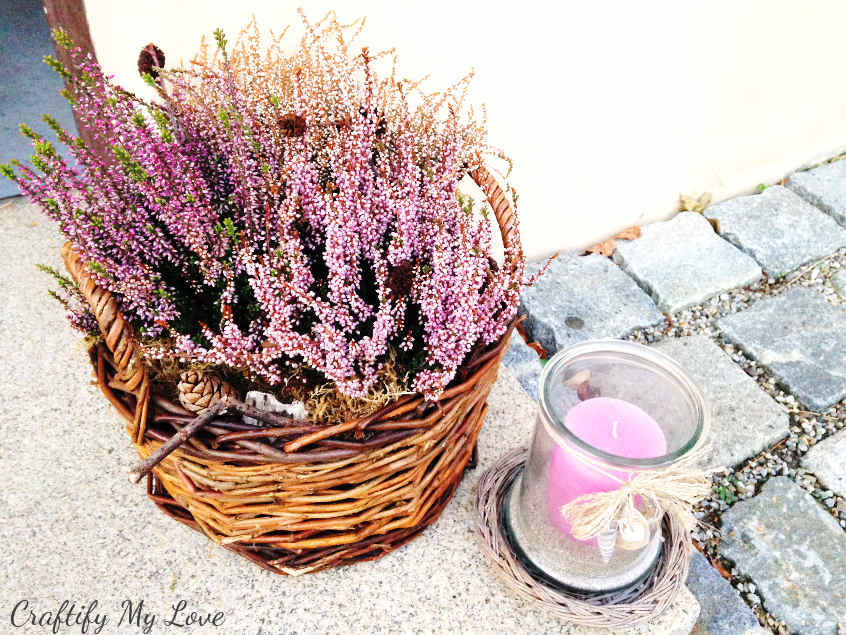 easy DIY heather fall basket arrangement