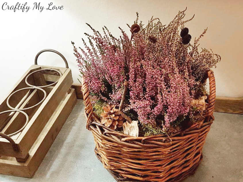 quick fall decor heather basket that will last all winter