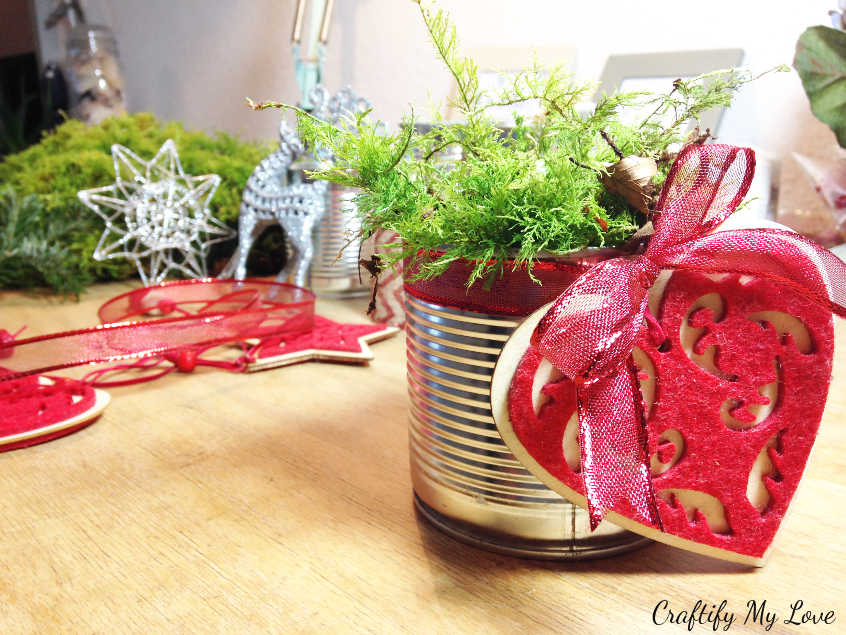adding natural moss for crafty advent decoration project