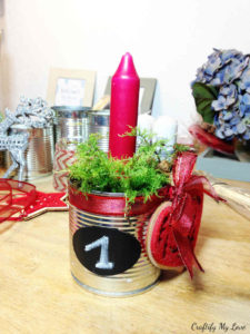 first week of advent recycled tin can project