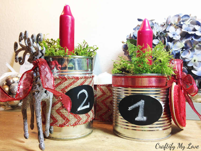 Number 1 and 2 of recycled tin can advent wreath decoration