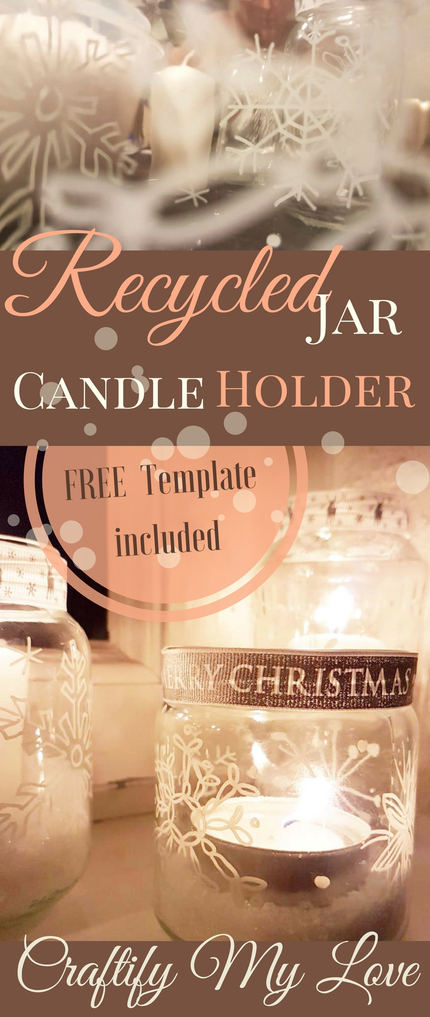 Empty jars turned into candle holders. Click and learn how to make this all white winter decor for your happy home. Includes FREE TEMPLATE| #sharpies #sharpieart #winterdecor #happyhome #DIY #seasonalcrafts #recyclingproject #candleholder #white #decorate #create #freeprintable