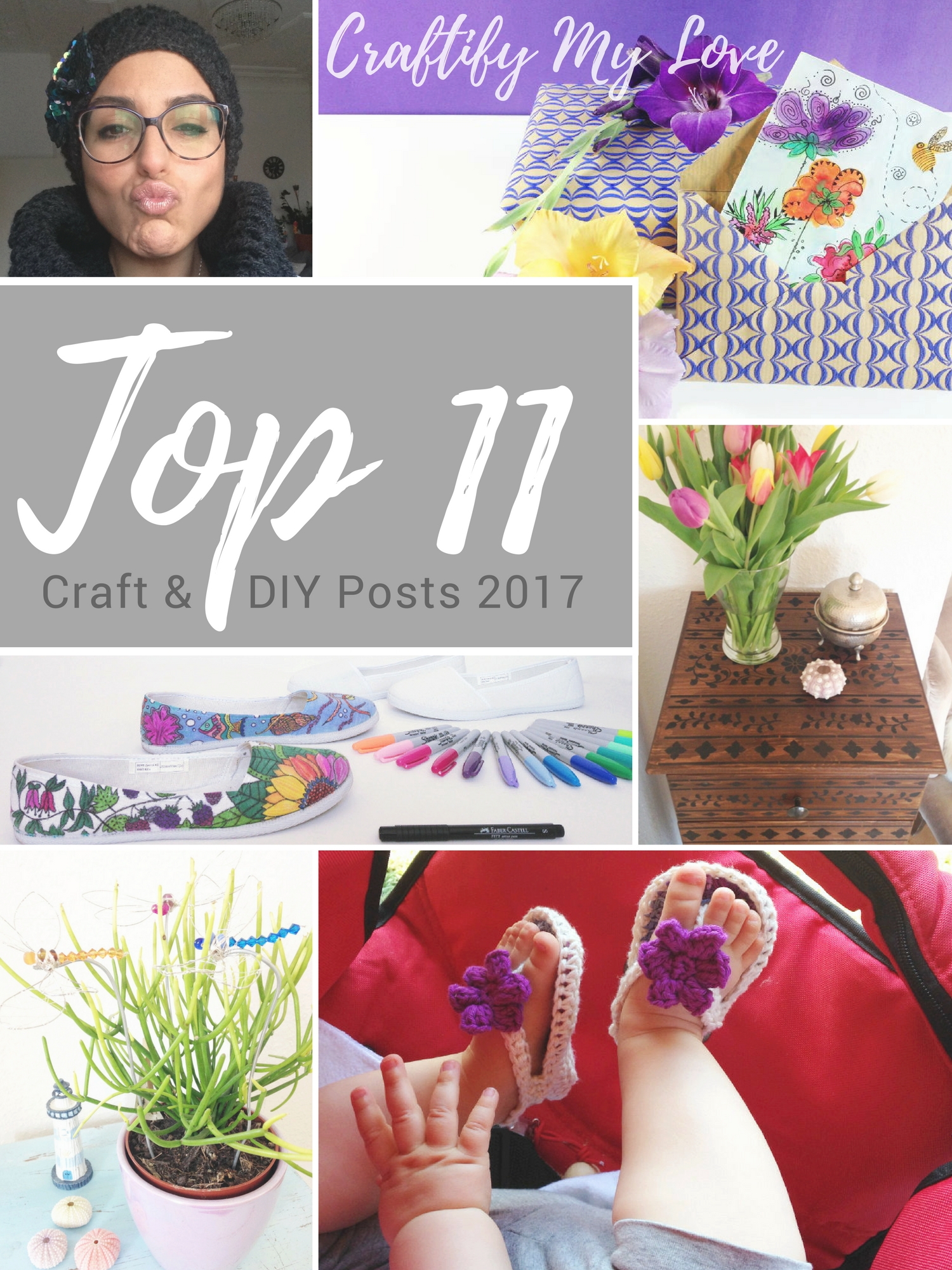 Top 11 craft and diy posts 2017. Click for a collection of easy tutorials and fun crafty projects. | #topposts2017 #topposts #top10 #topcraftprojects #bestof2017 #papercrafts #crocheting #IKEAhacks #sharpieart #homedecor