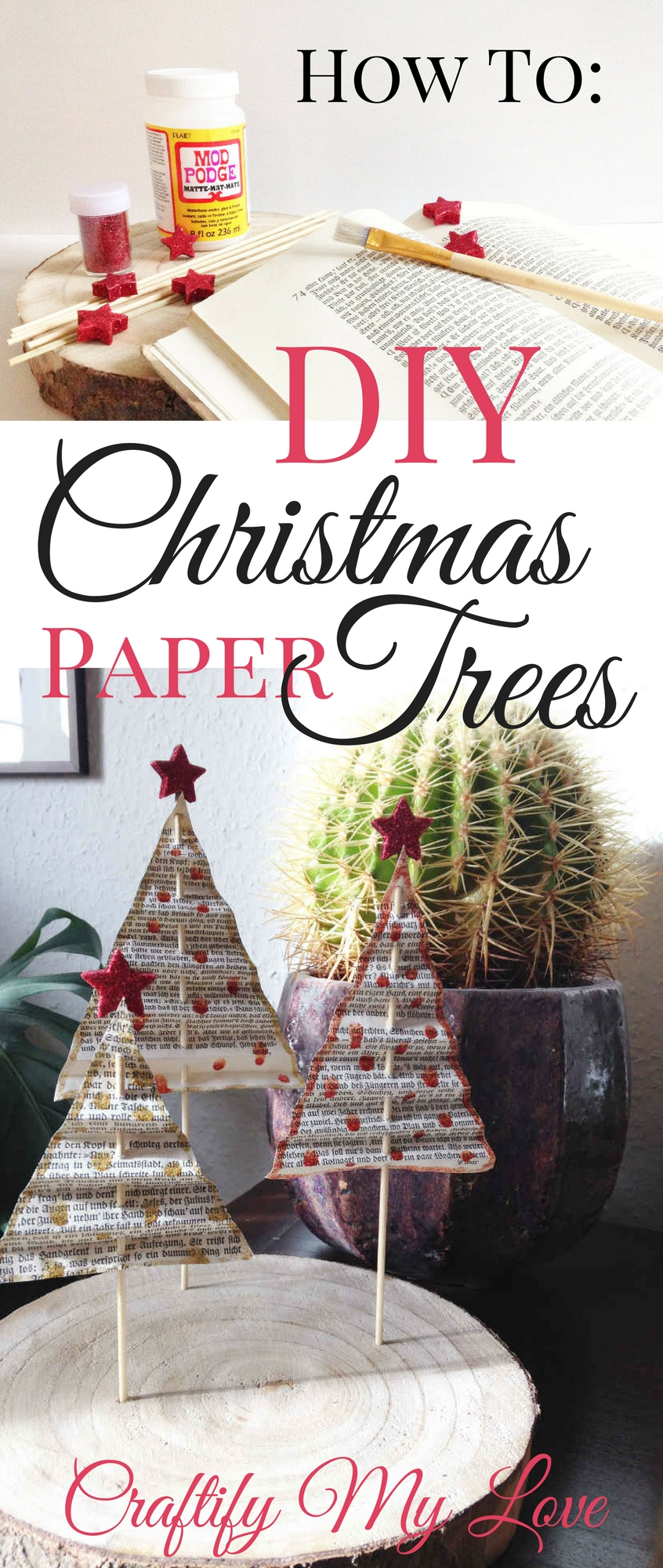Video Tutorial for a DIY Paper Christmas Trees Projekt from old books. Click for simple instructions. | #diychristmasdecoration #papercrafts #upcycledchristmastree #christmasdecor #upcycling #upcycledvintagebooks