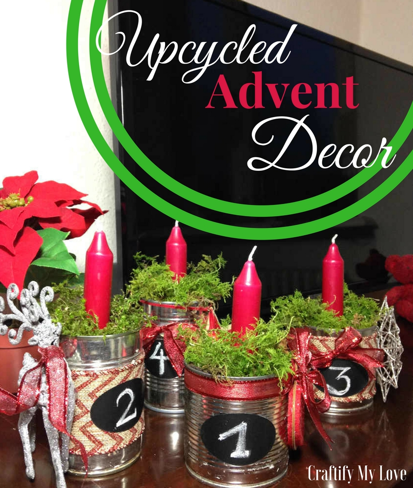 Upcycled Advent Decor from recycled tin cans plus natural moss and thrifted ornaments. Click for step by step instructions including video tutorial now   #adventwreath #upcyclingtincans #winterdecor #Christmasdecoration #videotutorial #reindeerornament #thrifted #upcycled #recycled #naturaldecor #moss