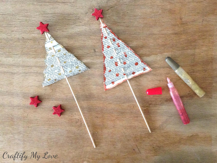 decorating your vintage book christmas trees with glitter glue