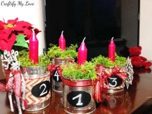 Frugal advent wreath craft project using recycled tin cans and moss