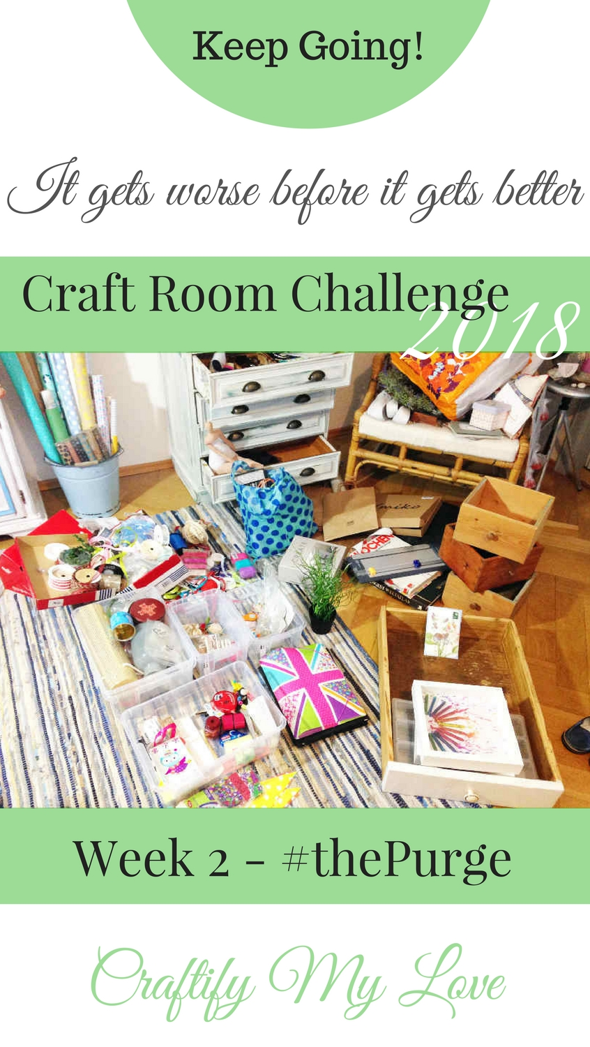 Don't quit the craft room makeover! It'll get better. Follow these simple 5 steps to rock the craft room purge. | #craftroomchallenge #confessthemess #purge #donate #gettingridof #craftroommakeover #itgetsworsebeforeitgetsbetter #craftsupplies