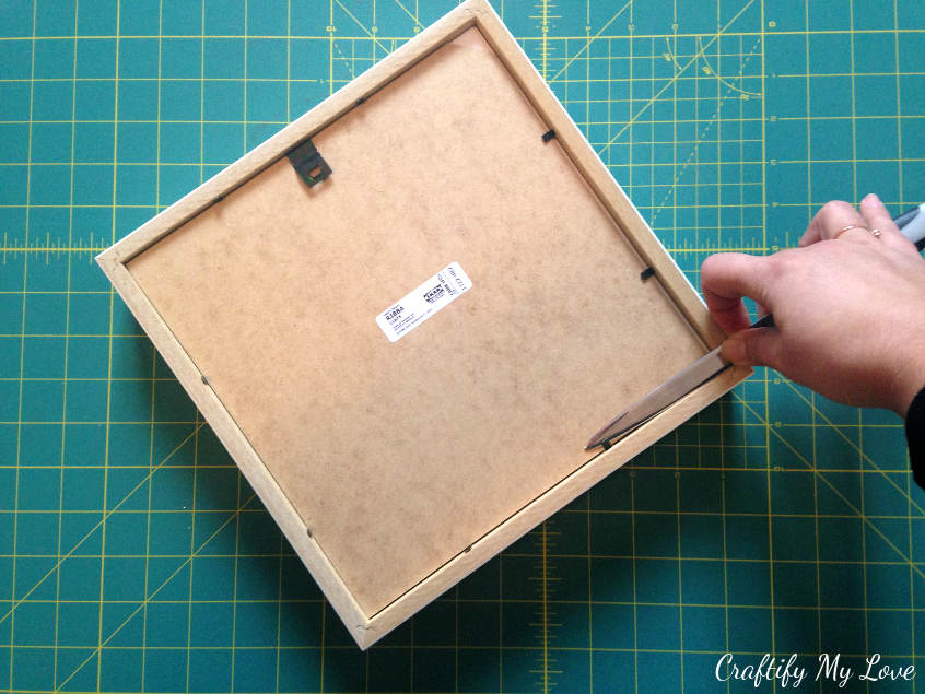 opening and dismantling IKEA frame Ribba for easy craft project creating sewing room decor