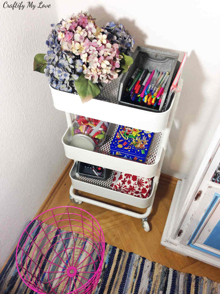 The best investment ever for my craft room: IKEA RASKOG caddy is the star of this craft room challenge