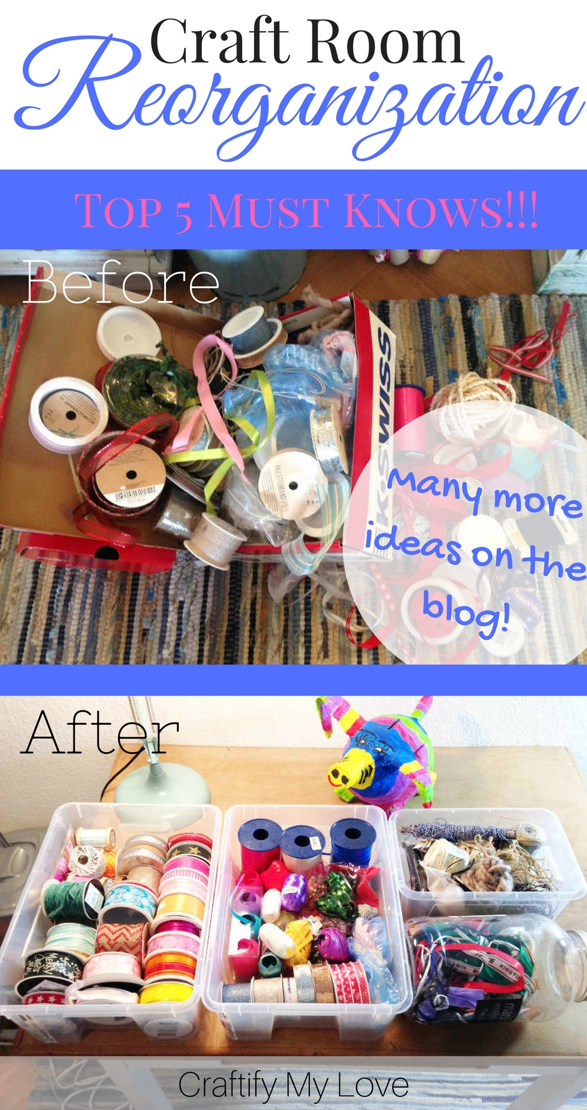 Top 5 Craft Room Organization Tipps you need to know! Today I challenge you to reorganize your Craft Room and I guarantee you won't want to leave your creative space ever again!   #craftroomchallenge #craftroomreorganization #craftroomorganization #craftroommakeover #craftroomideas #organizationhacks