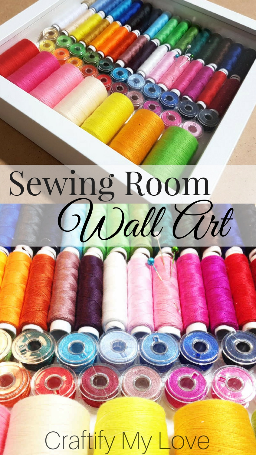 Make this easy yet stunning wall art for your Sewing or Craft Room using the IKEA frame Ribba | #IKEAhack #wallart #decor #craftroom #sewingroom #recyclingproject #upcycling #RIBBA #bobbins #spools