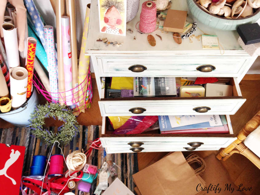Cluttered drawers with content spilling over