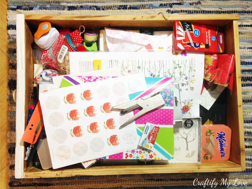 decluttering that old junk drawer in my desk. Craft Room challenge week 2 the purge