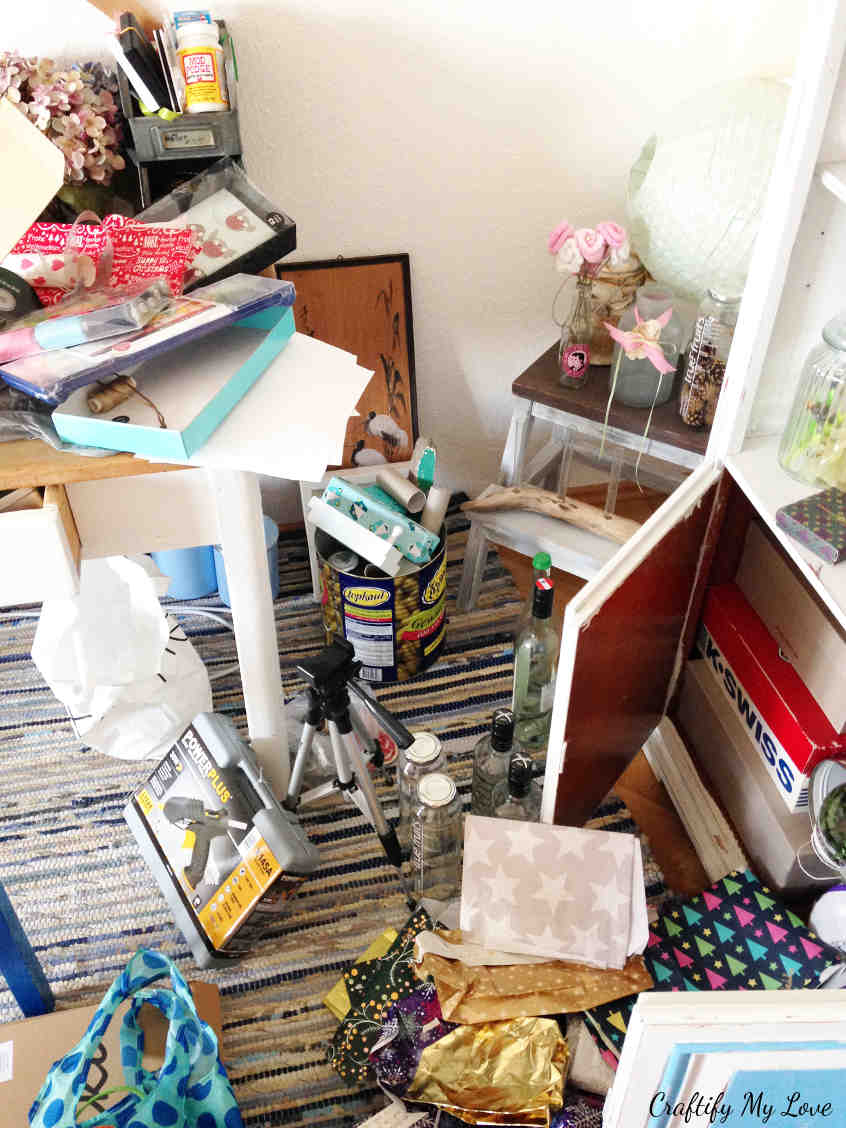 """Messy floor covered in supplies for my """"next"""" crafts projects aka unpacked shopping bags"""