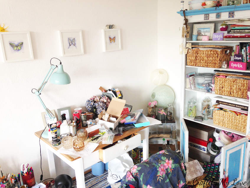 Overview of my desk work space and shelving cupboard